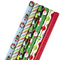 Hallmark Christmas Wrapping Paper Bundle with Cut Lines on Reverse, Modern Santa, Trees, Stripes (Pack of 6; 180 sq. ft. ttl.)