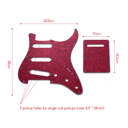 SSS Electric G3 Ply SSS Electric Guitar Pickguard Set with Back Plate Screws Pick Guard for American ST Style Guitars Black Pearl - image 2 of 6