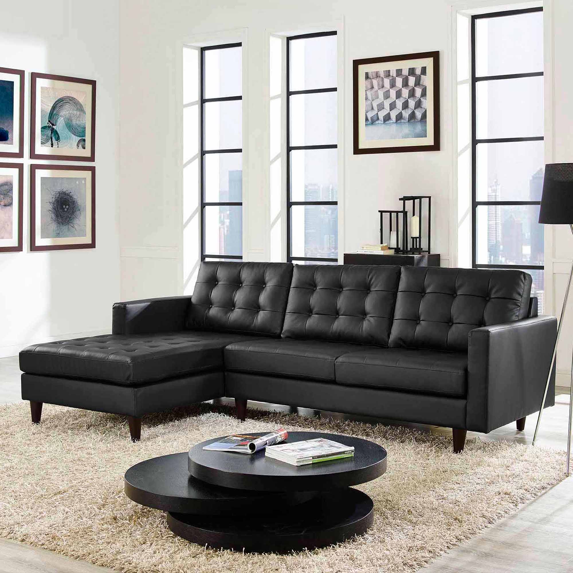 Modway Empress Left Facing Leather Sectional Sofa Multiple Colors