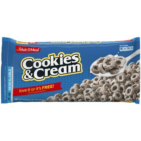 Malt-O-Meal Breakfast Cereal, Cookies & Cream, 34 Oz, Zip Bag