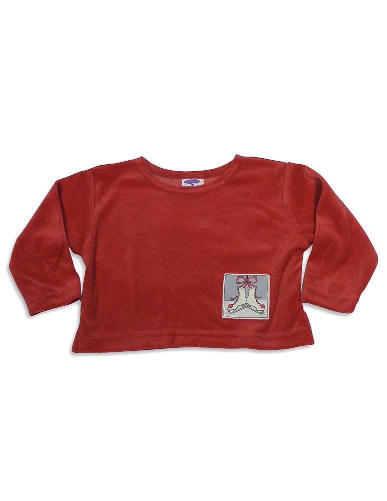 Mulberribush Girls Long Sleeve Velour Hip Length Shirt Top, 26261 red ice skates / 3T