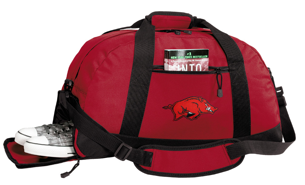 Arkansas Gym Bags University of Arkansas Duffle Bag WITH SHOE POCKET! by