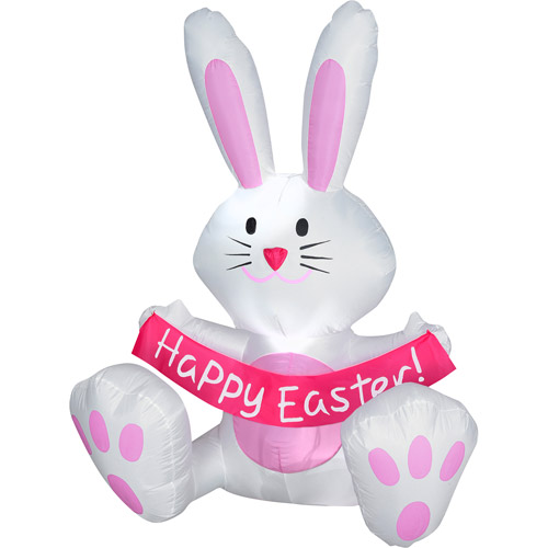 """3.8' Tall Airblown Inflatable Easter Bunny Holding """"Happy Easter"""" Sign"""