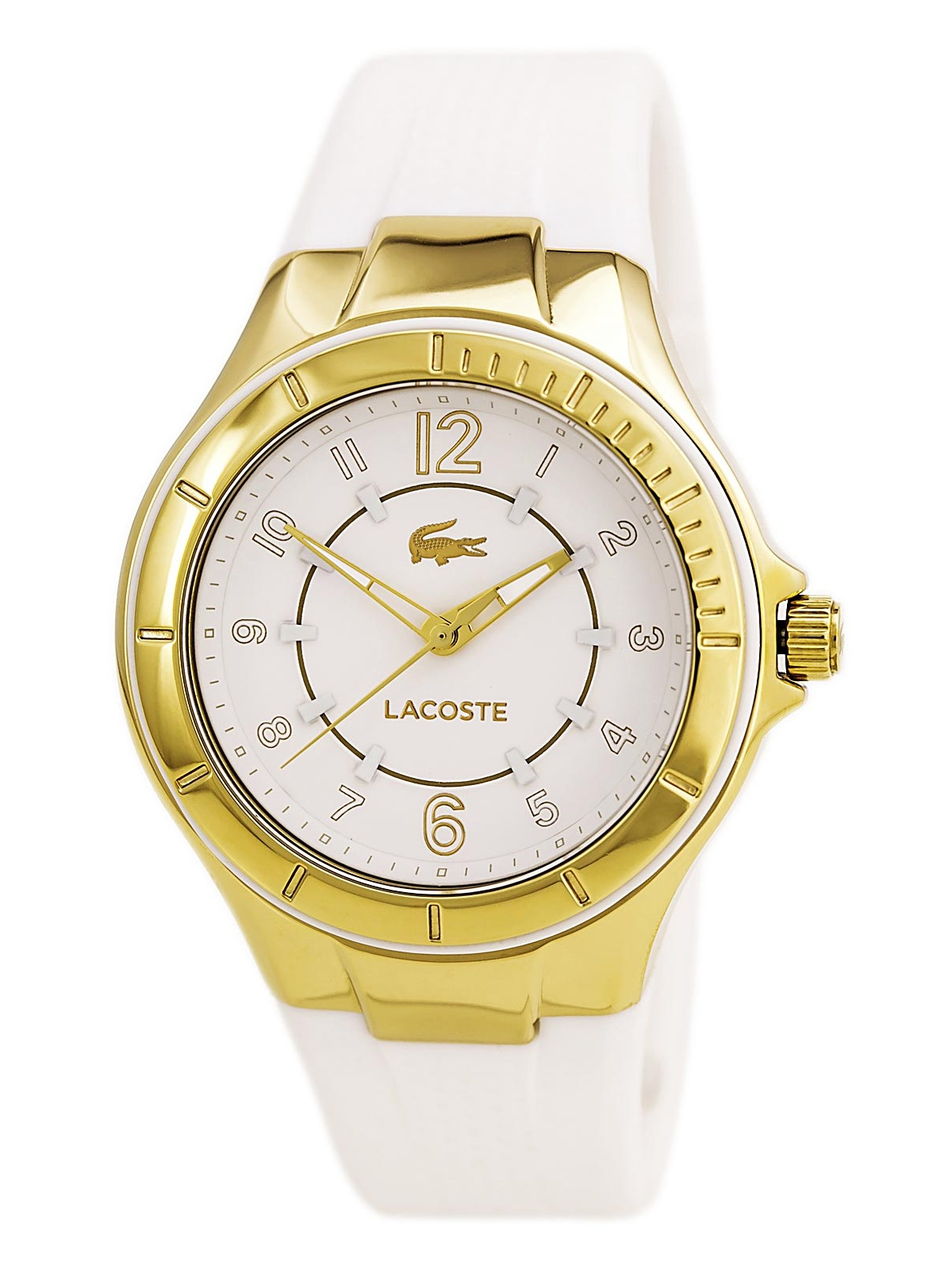 2000756 Women's Acapulco White Dial Yellow Gold Plated Steel White Silicone Strap Watch
