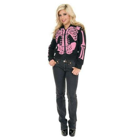 Adult Pink Skeleton Hoodie Costume Charades - Skelton Hoodie