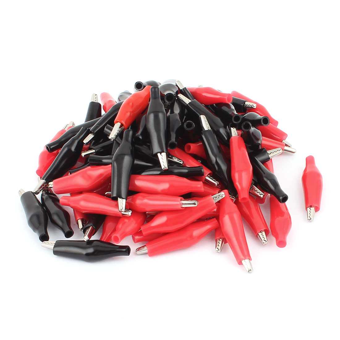 Uxcell 43mm Length Boot Plastic Metal Testing Insulated Alligator Clip Black Red 100Pcs