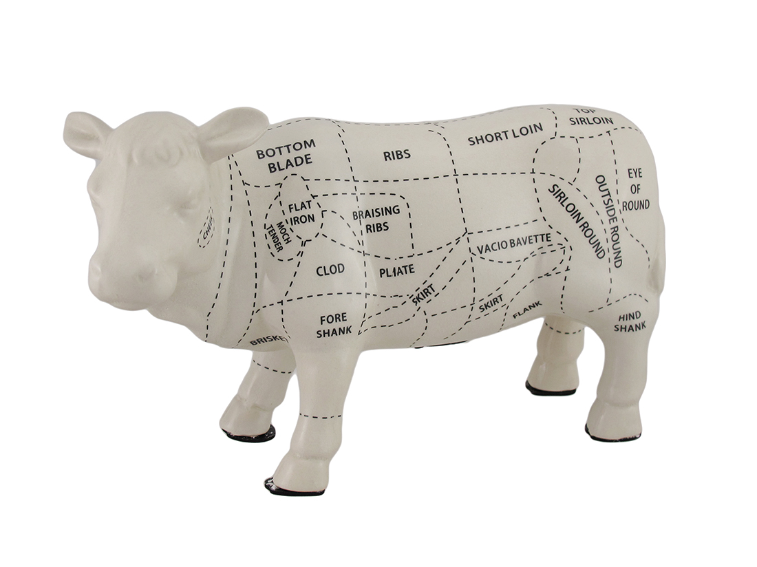 White Cow Shaped Ceramic Coin Bank Butcher Chart Piggy Bank 8 in. by Contrast Inc.