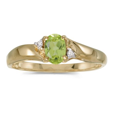 - 10k Yellow Gold Oval Peridot And Diamond Ring