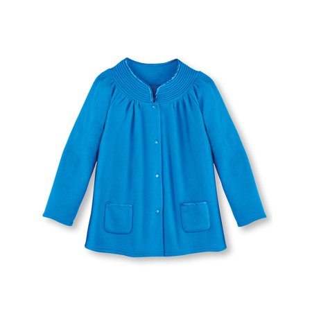 Women's Soft Fleece Full Snap Front Bed Jacket with Patch Pockets and Satin Trim, Wear Over Pajamas, Medium, Royal Blue