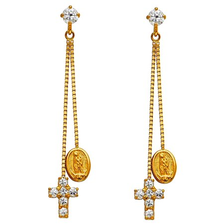 CZ Cross Virgin Mary Dangle Earrings Solid 14k Yellow Gold Guadalupe Drop w/ Chain Fashion Style 35 mm