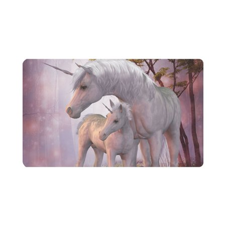 MKHERT Unicorns Mare and Foal in Magic Forest Doormat Rug Home Decor Floor Mat Bath Mat 30x18 inch](Magic Decor)