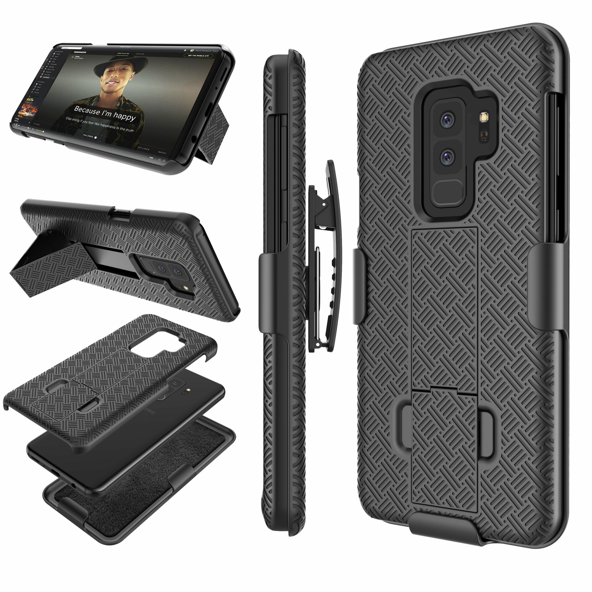 Samsung Galaxy S9 Plus Case, Galaxy S9 Plus Hard Case, Njjex Hard Shell [Built-in Kickstand] Holster Locking Belt Swivel Clip Defender Secure Slim Case Cover For Samsung Galaxy S9 Plus (2018)