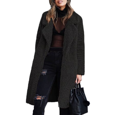 UKAP Women Faux Fur Parka Long Outwear Thicken Overcoat Fleece Jacket Teddy (Fleece Parka)