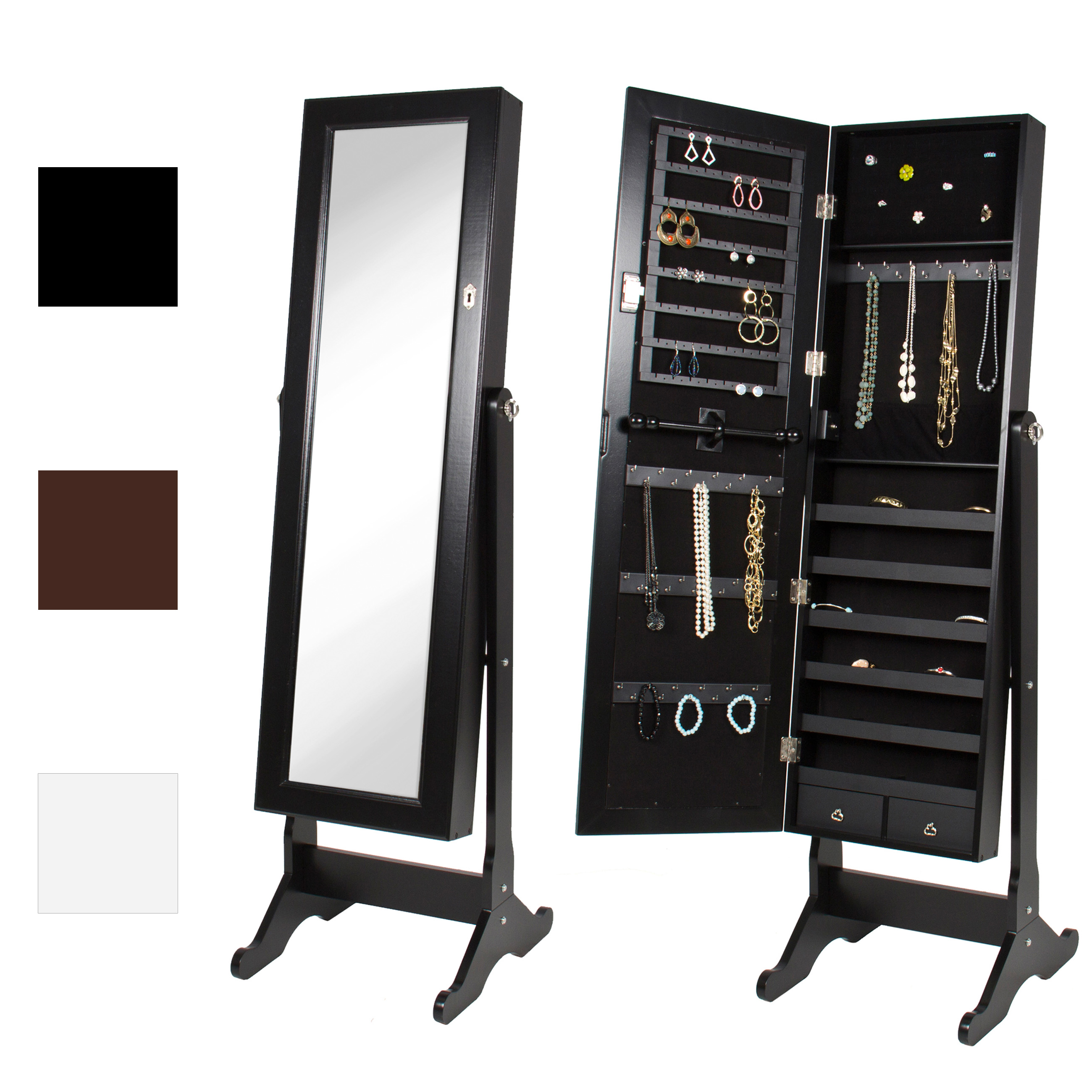 Mirrored Jewelry Cabinet Armoire W/ Stand Mirror Rings, Necklaces,  Bracelets   Walmart.com