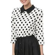 Women's 3/4 Sleeves Peter Pan Collar Polka Dot Blouse Top