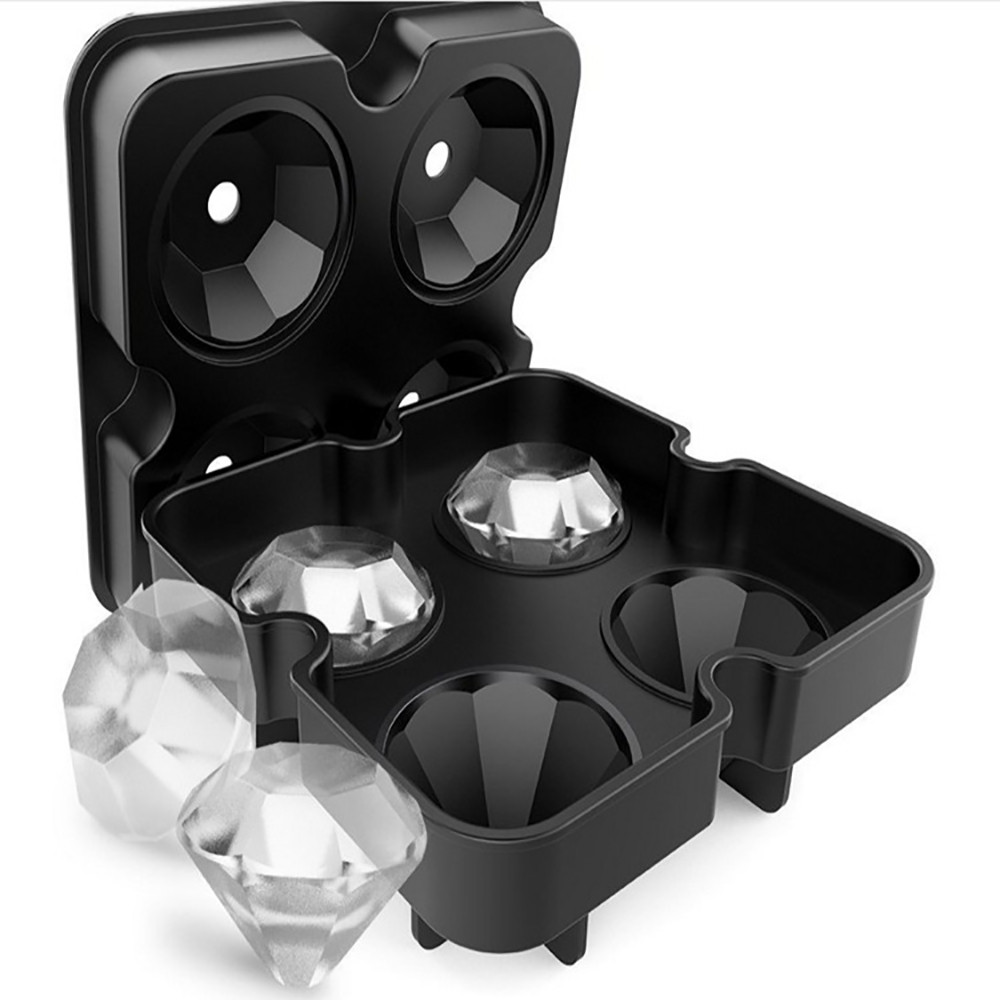 Diamond Shape 3D Ice Cube Mold Maker Bar Party Silicone Trays Chocolate Mold