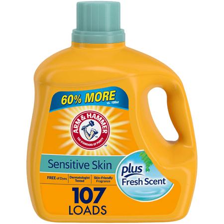 Arm & Hammer Liquid Laundry Detergent for Sensitive Skin plus Skin-Friendly Fresh Scent, 107 loads