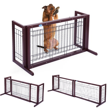 Jaxpety Safety Wooden Dog Gate Adjustable Indoor Solid Construction Pet Fence Free Standing (36 Freestanding Pet Gate)