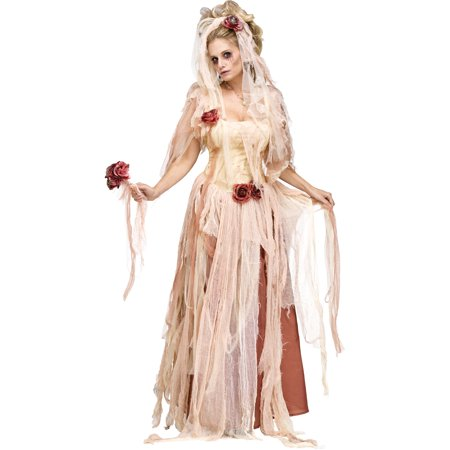 Adult's Womens Undead Ghostly Zombie Bride Dress Gown - Undead Bride Halloween Costume