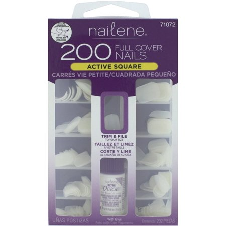 Fing'rs Nailene Full Cover Nails, Active Square with Glue  200 (Sterling Silver Glue On Bails)