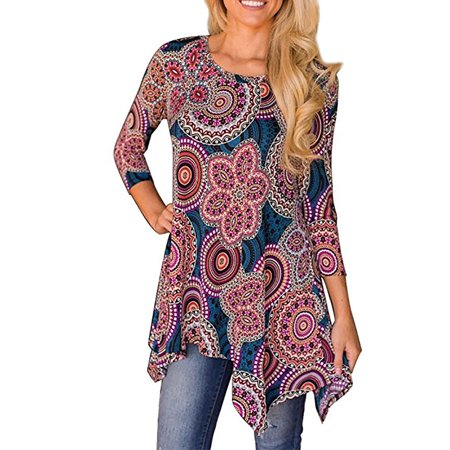 JustVH Women's 3/4 Sleeve Swing Tunic Floral Printed Flare Tee Top Blouse Shirt (Jester Tunic)