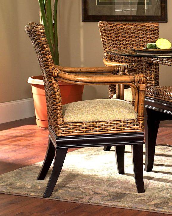 Biscayne Rattan Dining Armchair in Royal Oak (641) by Boca Brands