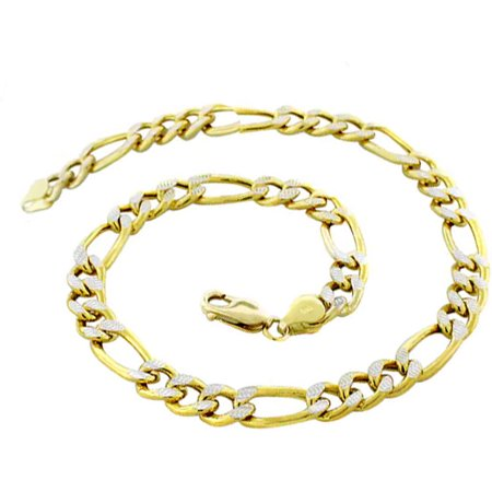 14K Yellow Gold 6.7mm Hollow PAVE Figaro Link Chain Bracelet