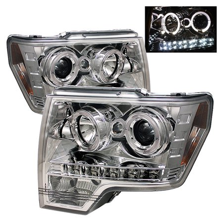 Spyder Ford F150 09-14 Projector Headlights - Halogen Model Only ( Not Compatible With Xenon/HID Model ) - LED Halo - LED ( Replaceable LEDs ) - Chro