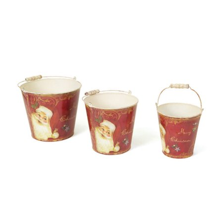 Set of 3 Retro Santa Claus Tall Vintage Style Decorative Christmas - Christmas Buckets