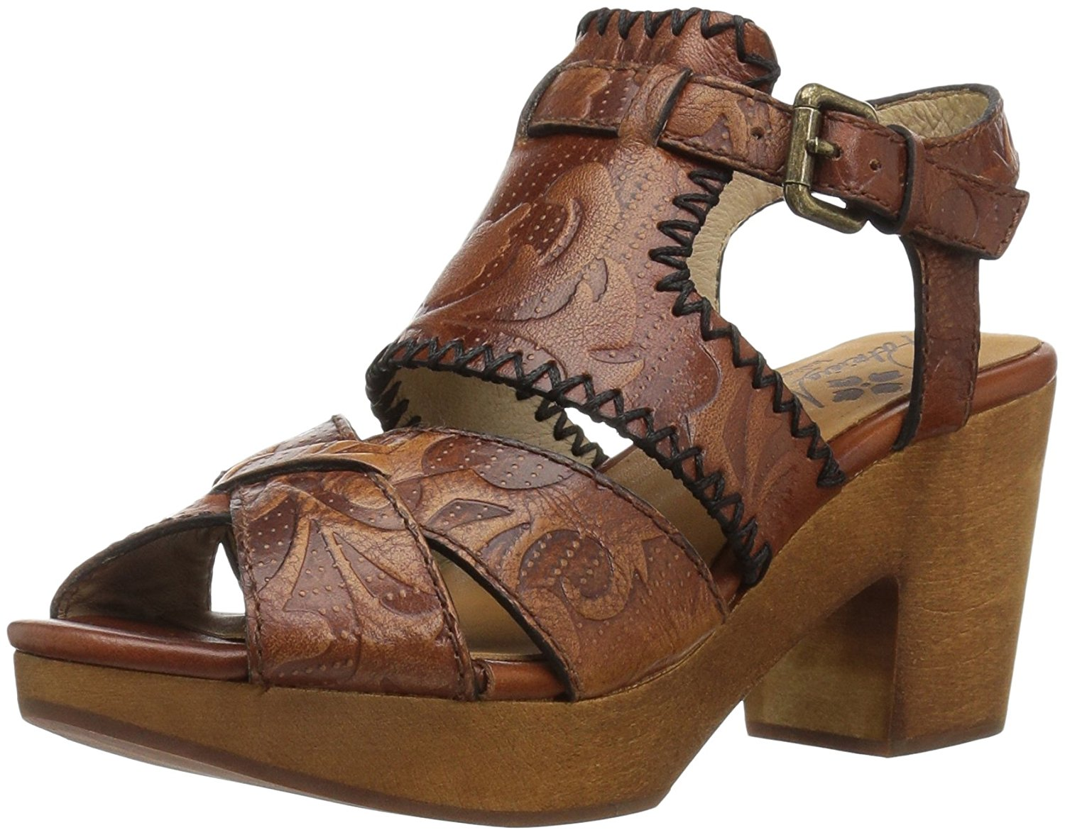 Patricia Nash Womens Viola Leather Round Toe Casual Ankle Strap Tan Size 80