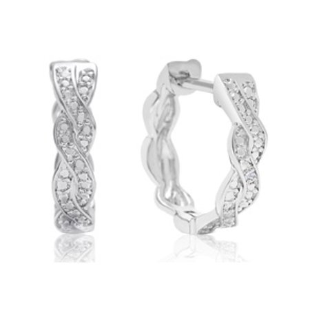 Diamond Swirl Hoop Earrings 1/2 Inch Hidden Snap Backs