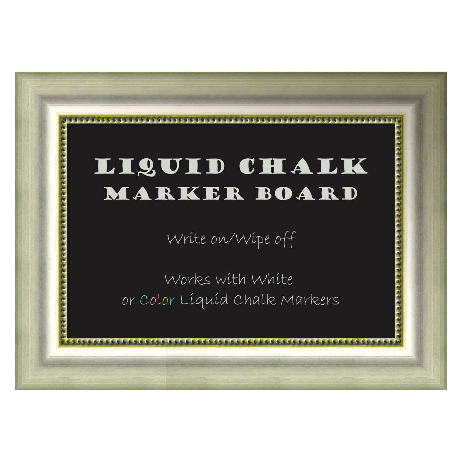 Amanti Art Vegas Burnished Silver Framed Liquid Chalk Marker Board