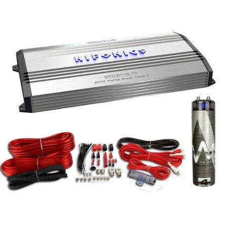 Hifonics Brutus BRX3016.1D 3000 Watt Amp Class D Amplifier + Wiring + Capacitor