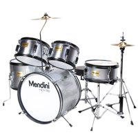 """Mendini by Cecilio 16"""" 5-Piece Complete Kids / Junior Drum Set with Adjustable Throne, Cymbal, Pedal & Drumsticks, Metallic Silver, MJDS-5-SR"""