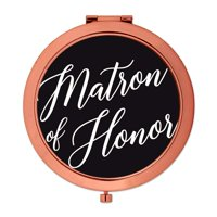 Andaz Press Rose Gold Compact Mirror Matron of Honor Wedding Gift, Black, 1-Pack