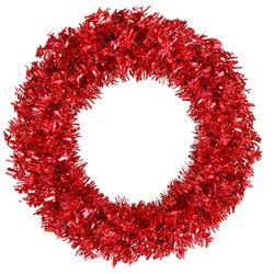 - 30 Pre-Lit Red Hot Wide Cut Tinsel Artificial Christmas Wreath - Red Lights