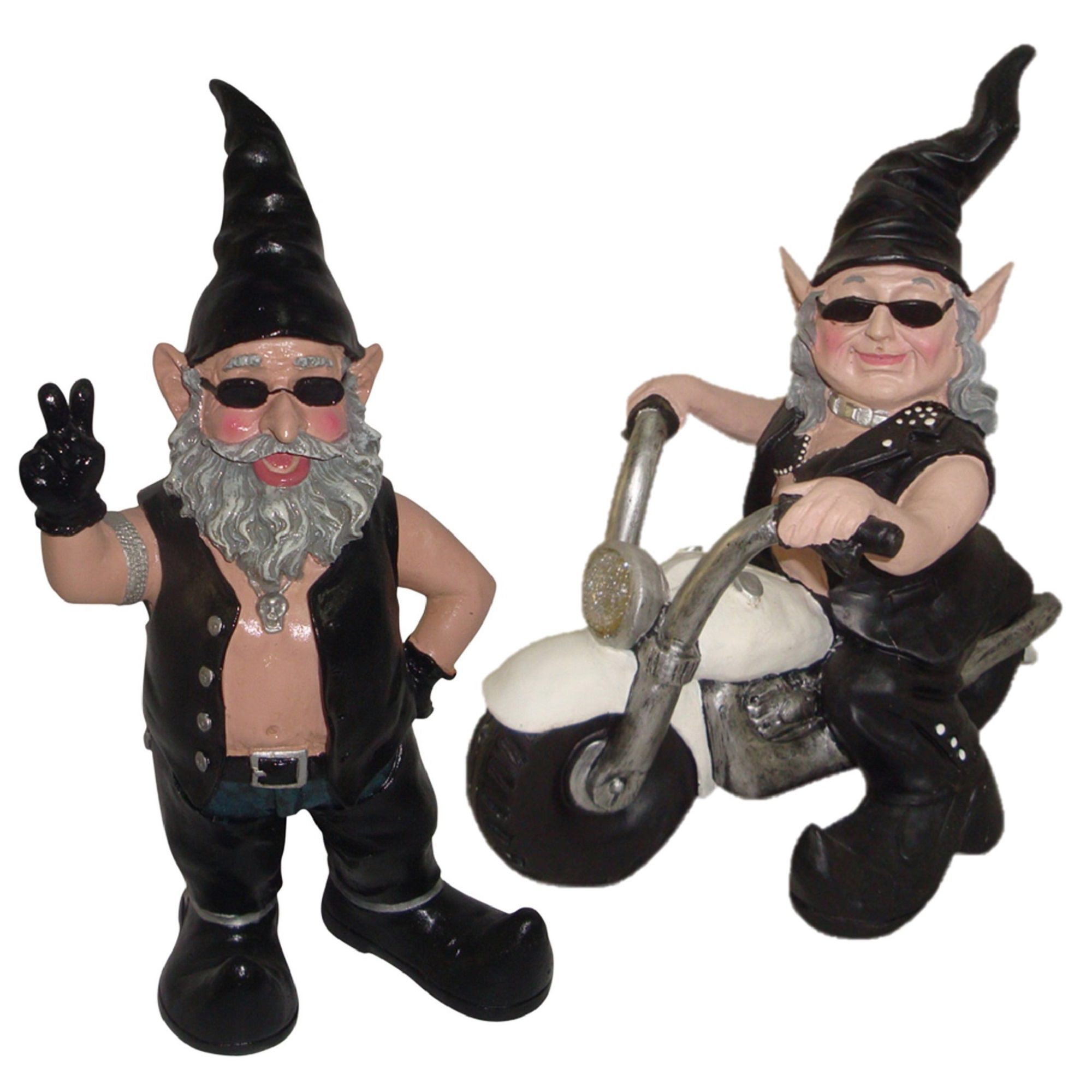 """Peace Sign """"Biker Dude"""" & """"Biker Babe"""" the Biker Gnome Riding Her White Bike in Leather... by GSI Homestyles"""