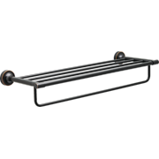 """Better Homes and Gardens Holbrook 24"""" Towel Rack, Wall Mounted Bathroom Towel Holder with Item Storage, Oil Rubbed Bronze"""