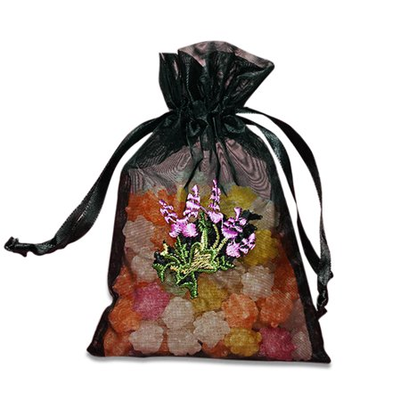 Black Organza Bags with Lavender Embroidery | Quantity: 12 | Width: 4