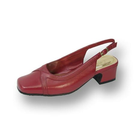 Tessa Women Wide Width Leather Slingback Pump RED 6