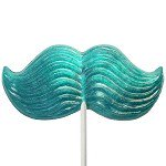 Giant Blue Glitter Mustache Lollipop 4.5 oz.: 6 Count
