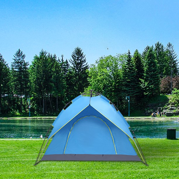 Camping Tent, 2-3 Person Family Tents for Camping, 180T Silver Coating Waterproof Tent, Double-Deck Camping Tent, Automatic Instant Pop Up Tents for Camping for Outdoor/Hiking/Traveling, Blue, R055