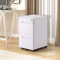 Merax 2-Drawer Metal Vertical Rolling File Cabinet, White