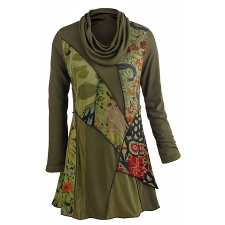 Women's Tunic Top - We Love Olive Patchwork Printed Cowl Neck Blouse ()