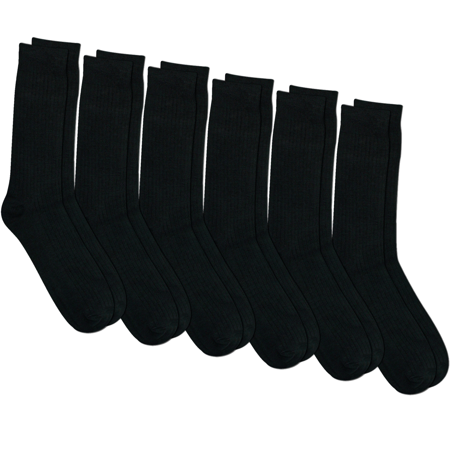 Mens All Black Crew Length Dress Socks 6 Pack