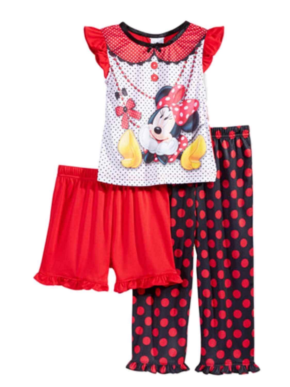 Disney Minnie Mouse Toddler Girls Polka Dot Pajamas 3 PC Shirt Pants Shorts 4T