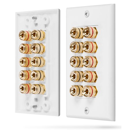 Fosmon  Five Speaker  Home Theater Wall Plate   Premium Quality Gold Plated Copper Banana Binding Post Coupler Type Wall Plate For 5 Speakers  White