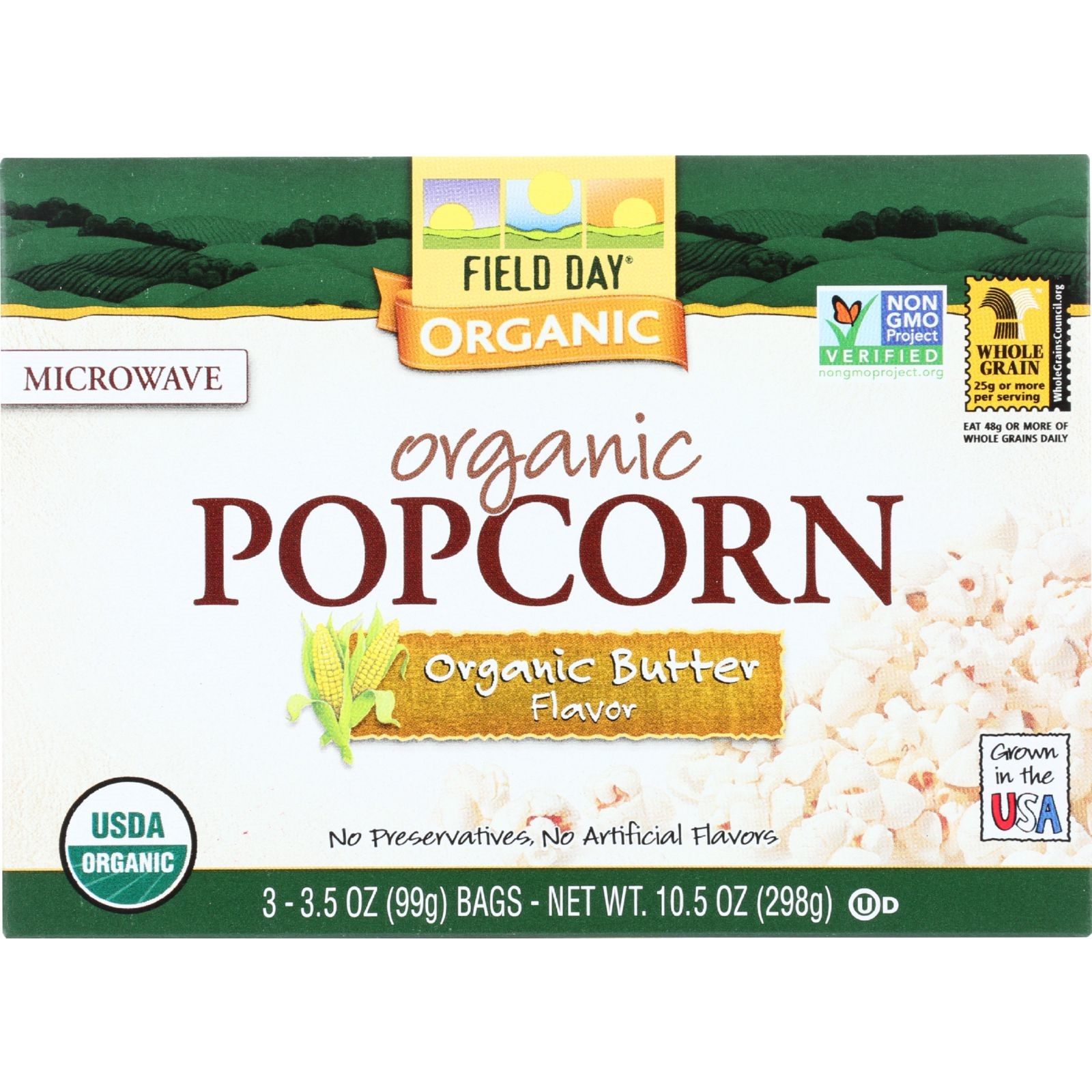 Field Day Organic Butter Popcorn, 3 Oz, 3 Ct