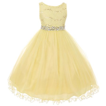 Little Girl Rhinestones Sequins Glitter Pageant Wedding Flower Girl Dress USA Yellow 4 MBK 340 BNY Corner](Glitter Dresses For Girls)