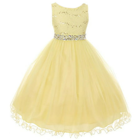 Little Girl Rhinestones Sequins Glitter Pageant Wedding Flower Girl Dress USA Yellow 4 MBK 340 BNY Corner